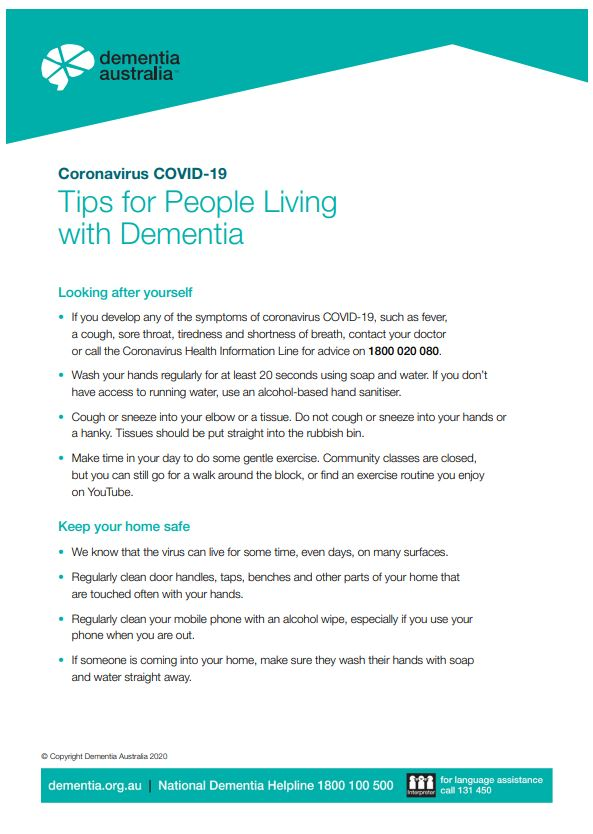 Coronavirus (COVID-19) - Tips for People Living with Dementia