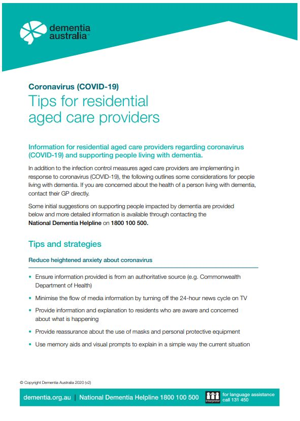 Coronavirus (COVID-19) - Tips for residential aged care providers