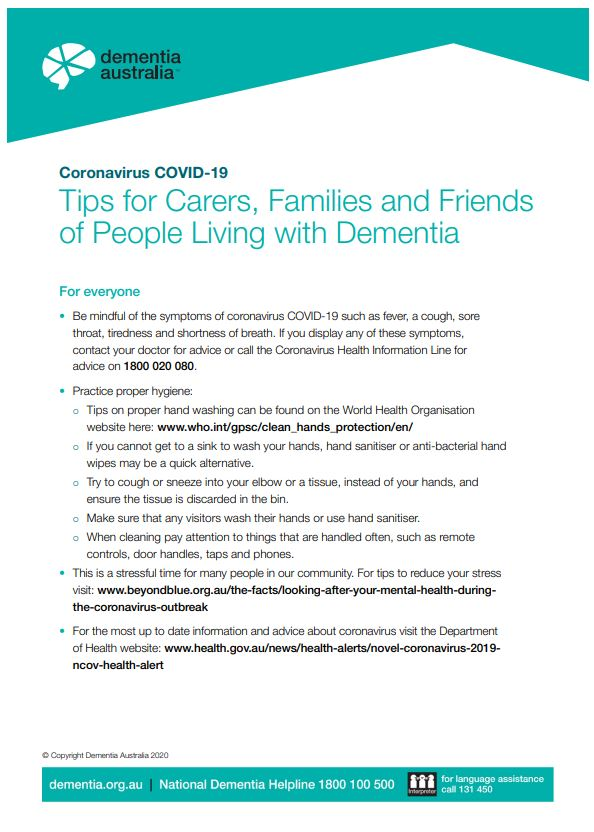 Coronavirus (COVID-19) - Tips for Carers, Families and Friends of People Living with Dementia
